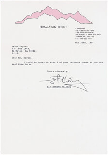 SIR EDMUND P. HILLARY - TYPED LETTER SIGNED 05/22/1996
