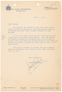 Autographs: JOSEPHINE BAKER - TYPED LETTER SIGNED 04/09/1953