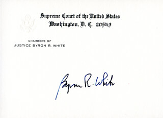ASSOCIATE JUSTICE BYRON R. WHITE - SUPREME COURT CARD SIGNED