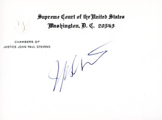 Autographs: ASSOCIATE JUSTICE JOHN PAUL STEVENS - SUPREME COURT CARD SIGNED