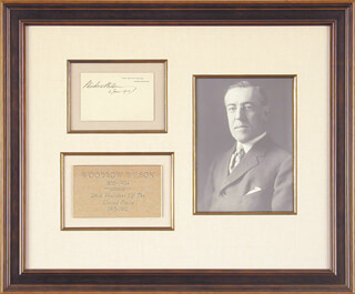 Autographs: PRESIDENT WOODROW WILSON - WHITE HOUSE CARD SIGNED 06/03/1913