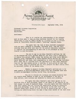 IRVING THALBERG - DOCUMENT SIGNED 09/20/1924