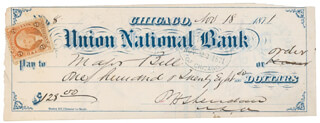 GENERAL PHILIP H. SHERIDAN - AUTOGRAPHED SIGNED CHECK