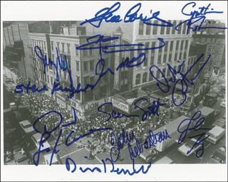 FILLMORE EAST - AUTOGRAPHED SIGNED PHOTOGRAPH CO-SIGNED BY: THE WHO (PETER TOWNSHEND), JOHN SEBASTIAN, SHA NA NA (SCOTT SCREAMIN SCOTT SIMON), BLUE CHEER (DICKIE PETERSON), JOHN KAY, DAVID LAFLAMME, SLY AND THE FAMILY STONE (CYNTHIA ROBINSON), SLY AND THE FAMILY STONE (JERRY MARTINI), JERRY VELEZ, YOUNG RASCALS (DINO DANELLI), YOUNG RASCALS (GENE CORNISH), NEW RIDERS OF THE PURPLE SAGE (JOHN (MARMADUKE) DAWSON), STEVE KNIGHT