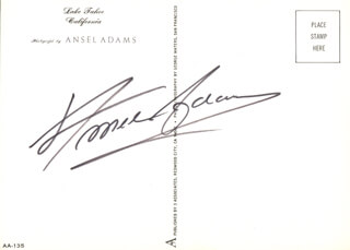ANSEL ADAMS - PICTURE POST CARD SIGNED