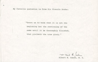 DR. ALBERT B. SABIN - QUOTATION SIGNED