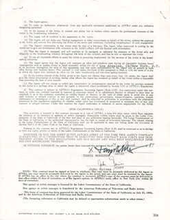TANYA ROBERTS - CONTRACT SIGNED 04/24/1987