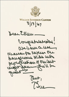 PRESIDENT WILLIAM J. BILL CLINTON - AUTOGRAPH LETTER SIGNED 03/19/2007