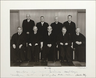 Autographs: CHIEF JUSTICE WARREN E. BURGER - PHOTOGRAPH SIGNED 04/1956 CO-SIGNED BY: JOHN A. DANAHER, GEORGE T. WASHINGTON, DAVID L. BAZELON, E. BARRETT PRETTYMAN, WALTER M. BASTIAN, CHARLES H. FAHY, WILBUR K. MILLER