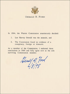 Autographs: PRESIDENT GERALD R. FORD - TYPESCRIPT SIGNED