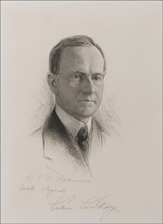 Autographs: PRESIDENT CALVIN COOLIDGE - ORIGINAL ART SIGNED