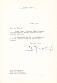 THOMAS J. WATSON JR. - TYPED LETTER SIGNED