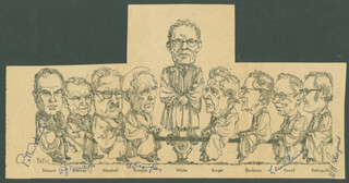 THE WARREN E. BURGER COURT - CARTOON SIGNED CO-SIGNED BY: ASSOCIATE JUSTICE LEWIS F. POWELL JR., ASSOCIATE JUSTICE WILLIAM O. DOUGLAS, ASSOCIATE JUSTICE POTTER STEWART, ASSOCIATE JUSTICE WILLIAM J. BRENNAN JR., CHIEF JUSTICE WILLIAM H. REHNQUIST
