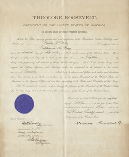 Autographs: PRESIDENT THEODORE ROOSEVELT - NAVAL APPOINTMENT SIGNED 10/08/1904 CO-SIGNED BY: CHARLES H. DARLING