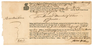 Autographs: JOHN HANCOCK - DOCUMENT UNSIGNED 10/02/1762