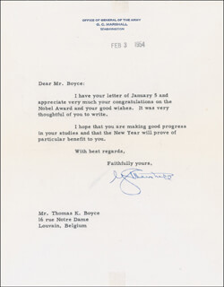GENERAL GEORGE C. MARSHALL - TYPED LETTER SIGNED 02/03/1954