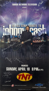 Autographs: JOHNNY CASH - POSTER SIGNED CO-SIGNED BY: EMMY LOU HARRIS, MARTY STUART, JON VOIGHT, KRIS KRISTOFFERSON, BROOKS AND DUNN (KIX BROOKS), BROOKS AND DUNN (RONNIE DUNN), MARSHALL GRANT, BOB WOOTTON, W. S. FLUKE HOLLAND, WILSON WATERS, JR., LYLE LOVETT