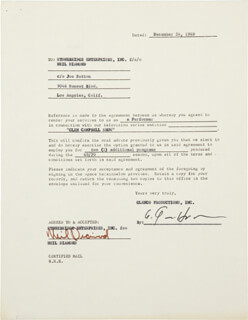 NEIL DIAMOND - CONTRACT SIGNED 12/24/1969
