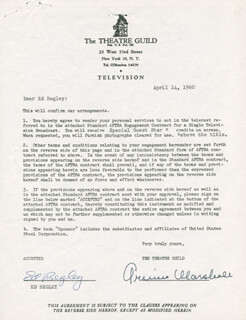 ED BEGLEY SR. - CONTRACT SIGNED 04/14/1960