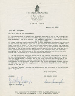 FARLEY GRANGER - CONTRACT SIGNED 08/06/1958