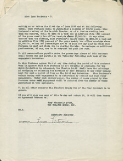 LYNN FONTANNE - CONTRACT SIGNED 12/08/1925