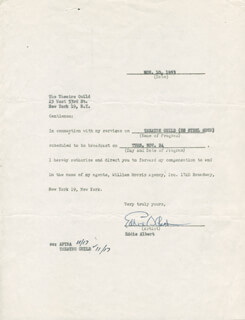 EDDIE ALBERT - CONTRACT SIGNED 11/10/1953