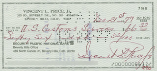 VINCENT PRICE - AUTOGRAPHED SIGNED CHECK 07/25/1975