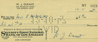 WILL DURANT - AUTOGRAPHED SIGNED CHECK 12/05/1947