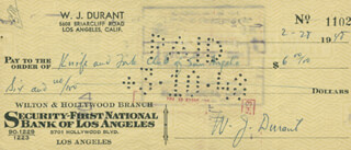 WILL DURANT - AUTOGRAPHED SIGNED CHECK 02/28/1948
