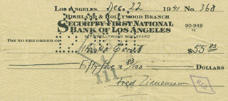 FRED ZINNEMANN - AUTOGRAPHED SIGNED CHECK 12/22/1941