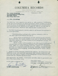 Autographs: LOUIS SATCHMO ARMSTRONG - CONTRACT SIGNED 02/01/1956