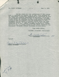 BASIL RATHBONE - CONTRACT SIGNED