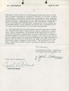 CYRIL RITCHARD - CONTRACT SIGNED 04/15/1957