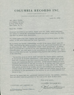 MERV GRIFFIN - CONTRACT SIGNED 04/27/1954