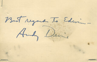 ANDY DEVINE - AUTOGRAPH NOTE SIGNED