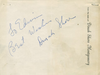 DINAH SHORE - AUTOGRAPH NOTE SIGNED