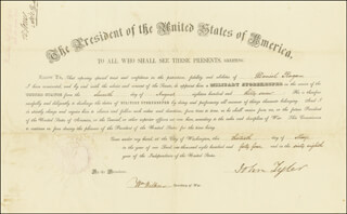 Autographs: PRESIDENT JOHN TYLER - MILITARY APPOINTMENT SIGNED 05/13/1844 CO-SIGNED BY: WILLIAM WILKINS