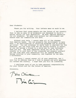 PRESIDENT WILLIAM J. BILL CLINTON - TYPED LETTER SIGNED