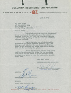 ERROL FLYNN - CONTRACT SIGNED 04/01/1947