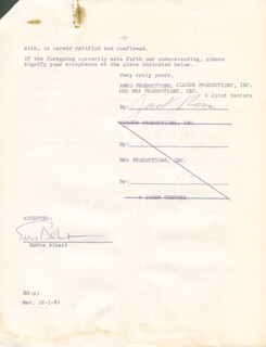 EDDIE ALBERT - CONTRACT MULTI-SIGNED 08/31/1961