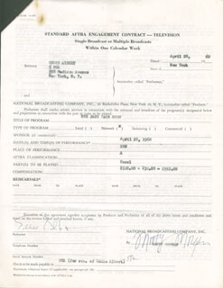 Autographs: EDDIE ALBERT - CONTRACT SIGNED 04/28/1960
