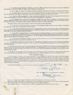 EDDIE ALBERT - CONTRACT SIGNED 09/13/1960