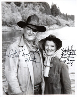 ROOSTER COGBURN MOVIE CAST - AUTOGRAPHED INSCRIBED PHOTOGRAPH CO-SIGNED BY: KATHARINE HEPBURN, JOHN DUKE WAYNE