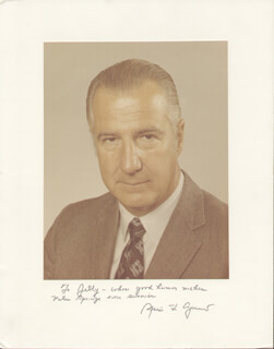 VICE PRESIDENT SPIRO T. AGNEW - INSCRIBED PHOTOGRAPH MOUNT SIGNED  - HFSID 281486