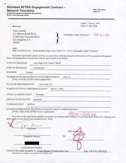 TOM ARNOLD - CONTRACT SIGNED 03/07/2002