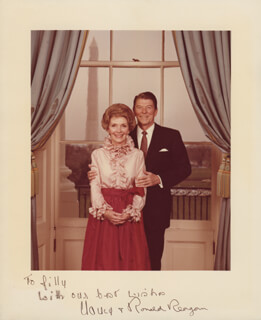 PRESIDENT RONALD REAGAN - AUTOGRAPHED SIGNED PHOTOGRAPH CO-SIGNED BY: FIRST LADY NANCY DAVIS REAGAN