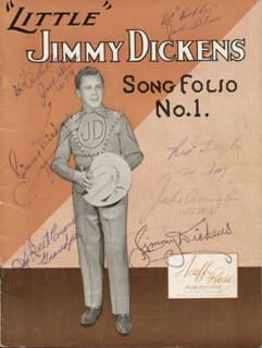 JIMMY LITTLE JIMMY DICKENS - INSCRIBED SHEET MUSIC SIGNED CO-SIGNED BY: MERLE RED TAYLOR, SKEET CROSS, JOEL PRICE