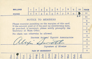 ALEXIS SMITH - MEMBERSHIP CARD SIGNED CIRCA 1954 CO-SIGNED BY: GORDON SANDISON