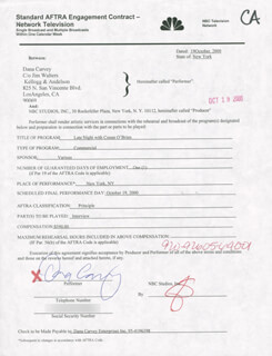 DANA CARVEY - CONTRACT SIGNED 10/19/2000