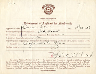 PAT O'BRIEN - DOCUMENT SIGNED 10/10/1936